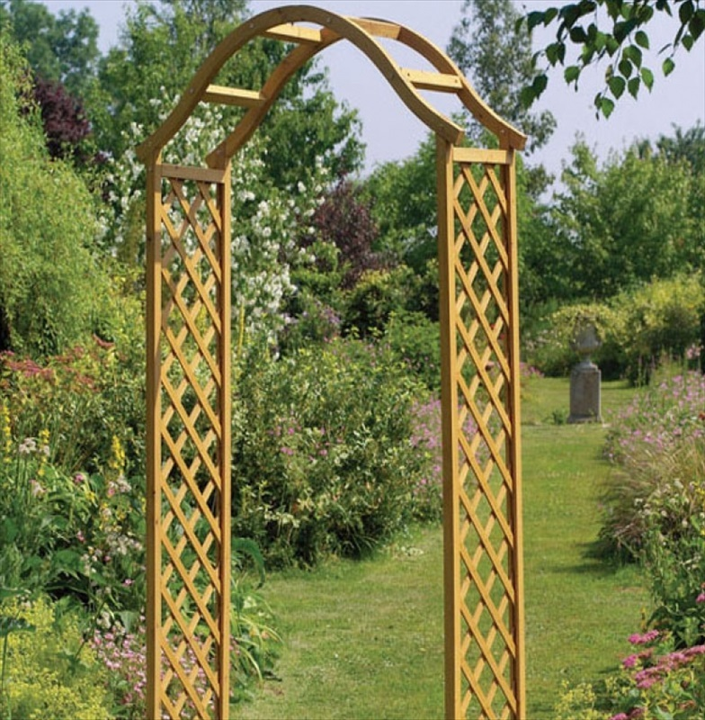 Elegance wooden garden arch tan the garden factory - Garden wood arches ...