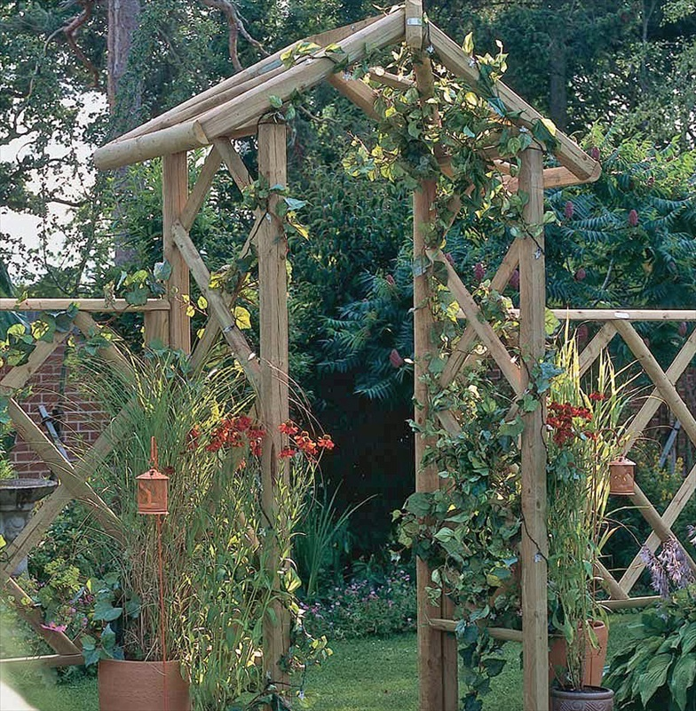 The forest rose arch is a sturdy wooden garden arch for Timber garden arch designs