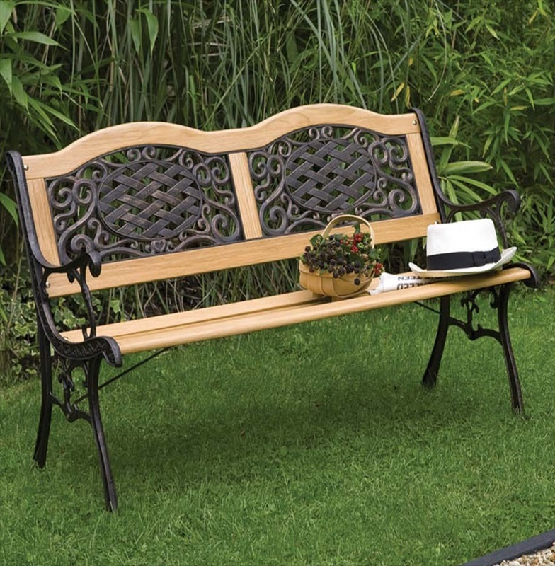Mississippi wood metal resin bench the garden factory for Metal benches for outdoors