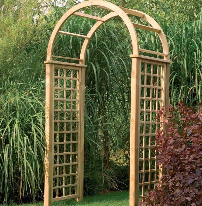 Florence wooden garden arch with round top design