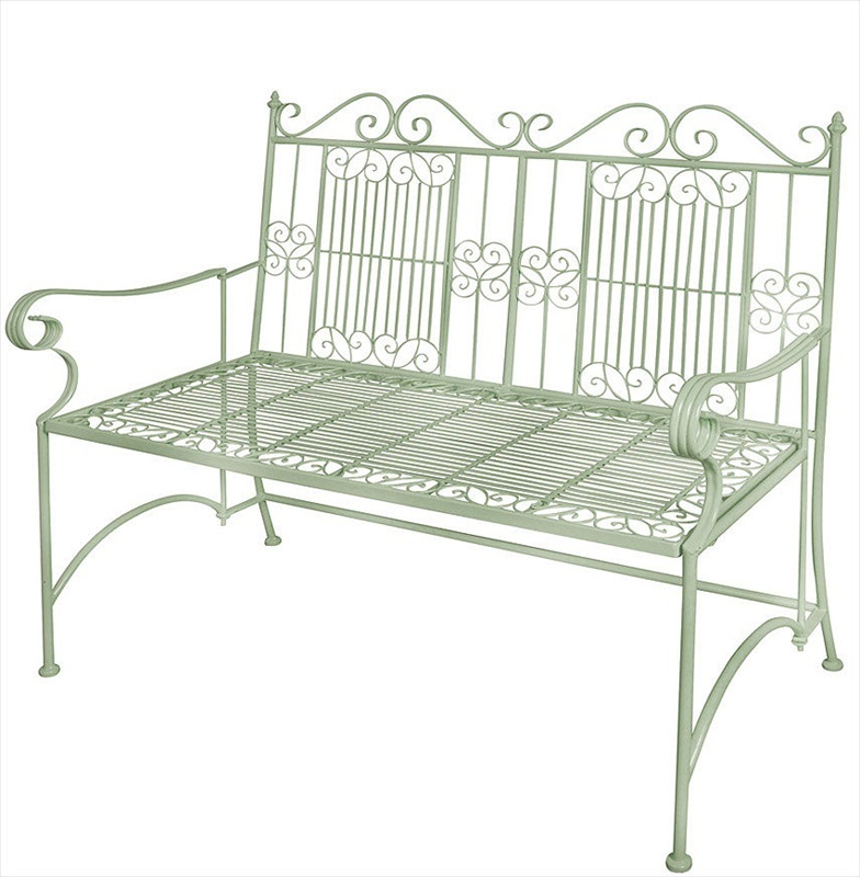 Old Rectory Metal Bench Sage Green The Garden Factory
