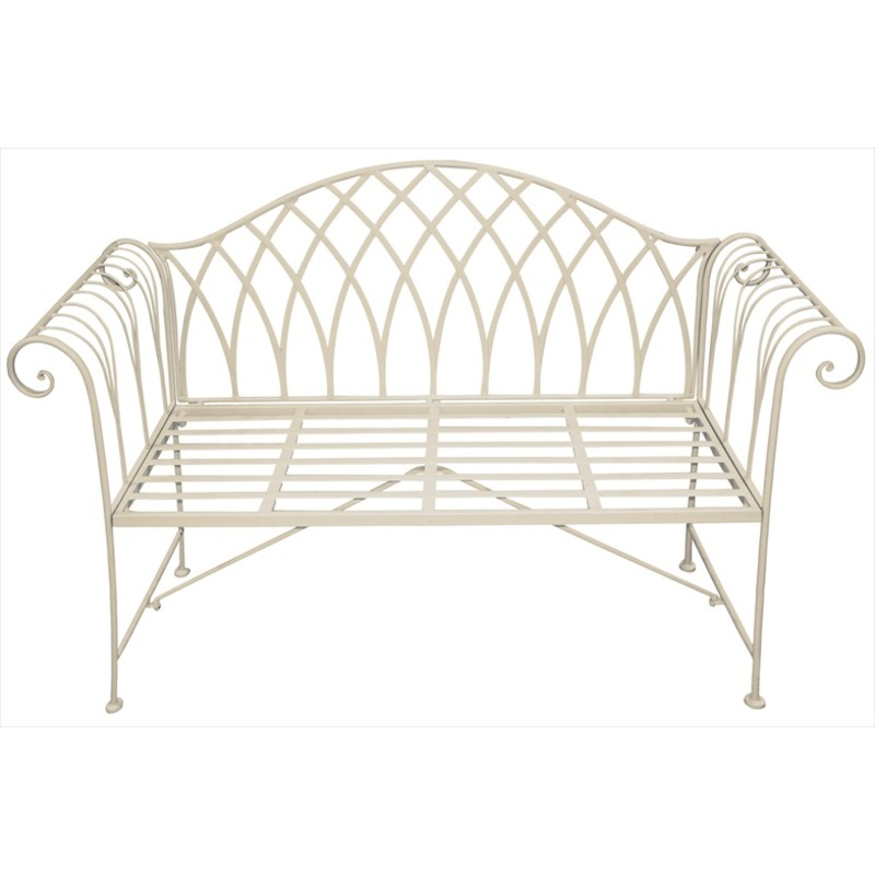 Scrolled metal garden bench cream the garden factory Garden benches metal