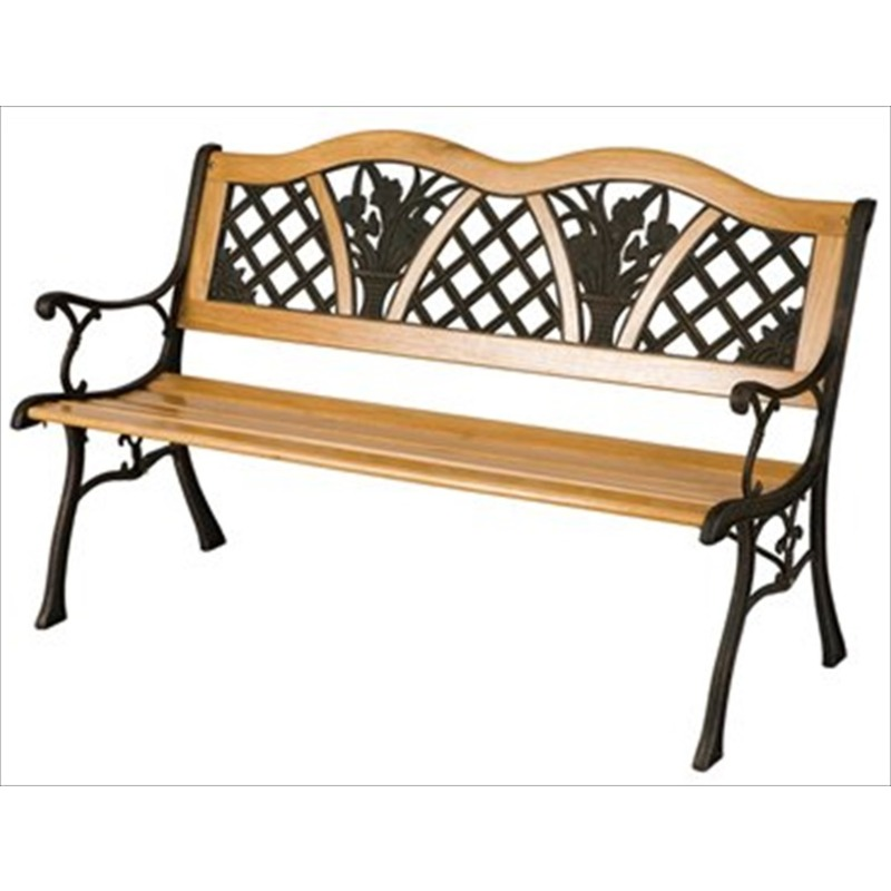 Garden Flower Bench Wood Metal The Garden Factory