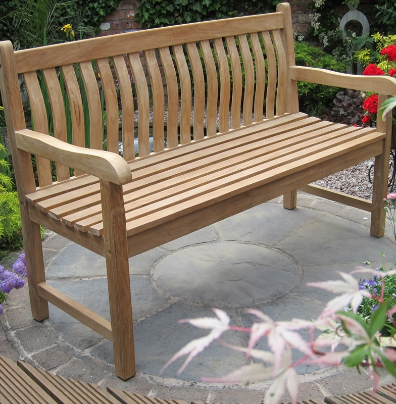 teak java curved back bench 1 5m the garden factory
