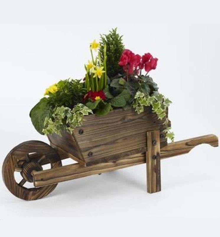 wooden wheelbarrow planter the garden factory