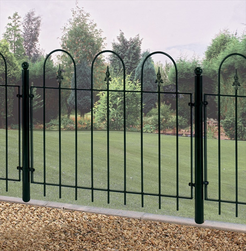 Village metal garden fence panel the garden factory for Garden fencing ideas metal