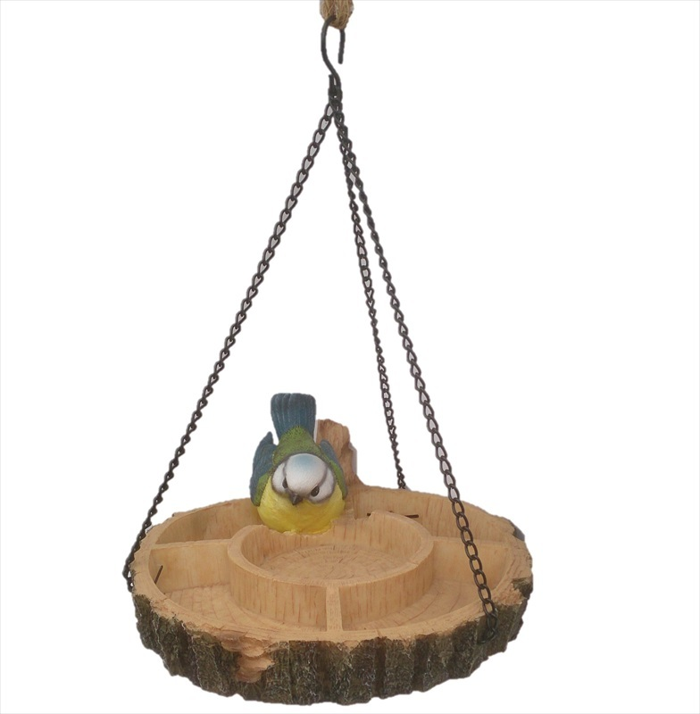 Resin hanging bird feeder blue tit the garden factory for Outdoor hanging ornaments