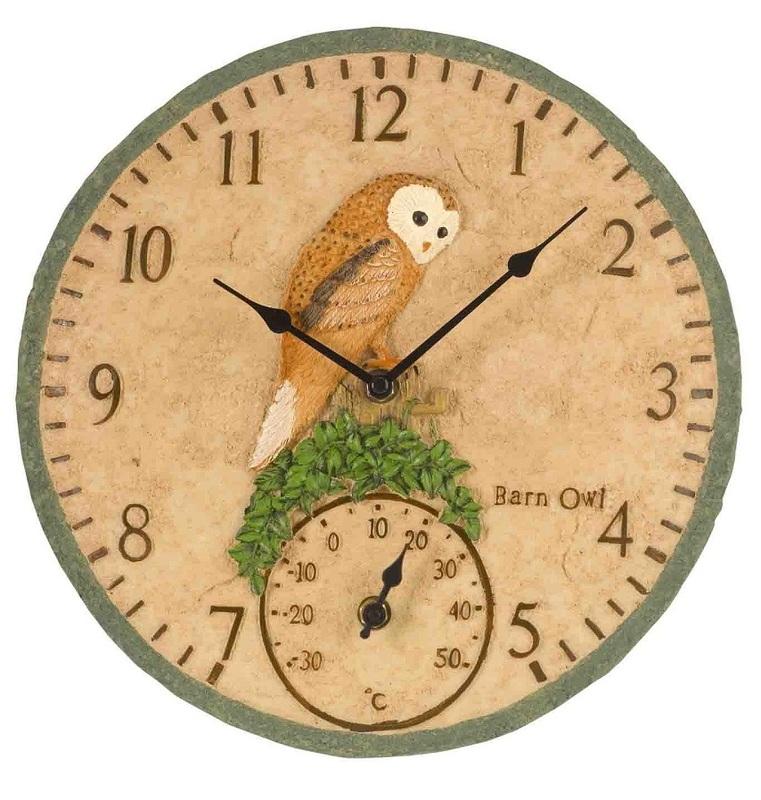 barn owl garden outdoor clock u0026 thermometer