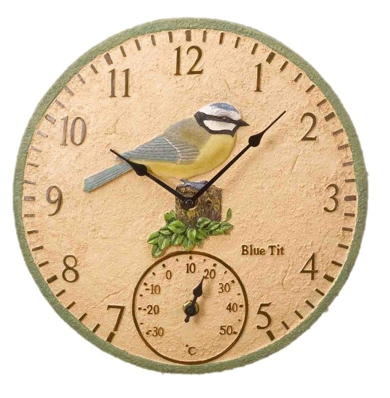 Blue Tit Garden Outdoor Clock U0026 Thermometer ...