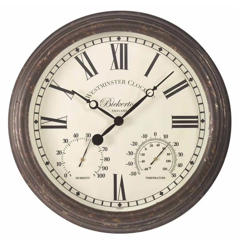 Bickerton Rustic Outdoor Wall Clock The Garden Factory
