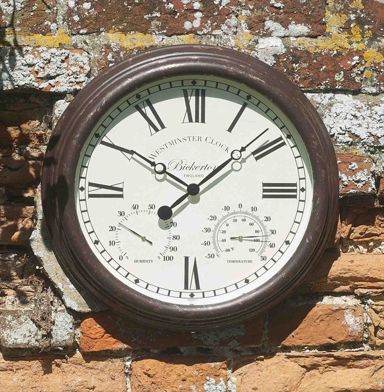 clocks thermometers all outdoor clocks bickerton rustic wall
