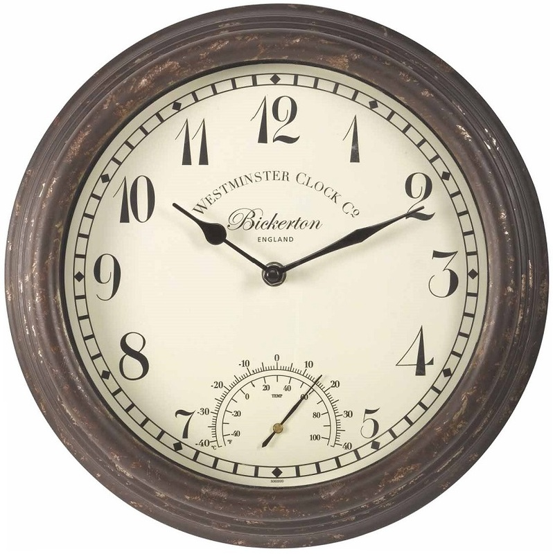 Rustic Wall Clock Thermometer The Garden Factory