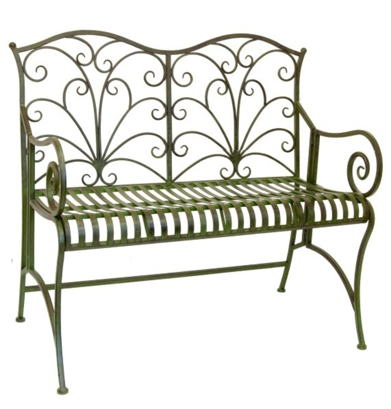Lucton Metal Garden Bench   Green   From The Lucton Range