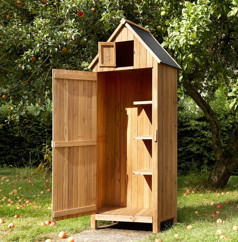 Wooden tool shed beach hut style the garden factory for Outdoor tool shed
