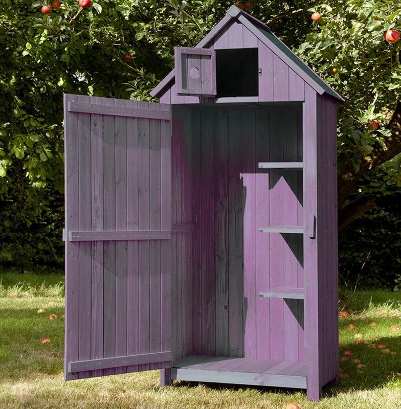 Garden wooden tool shed plum the garden factory for Wooden garden tool shed