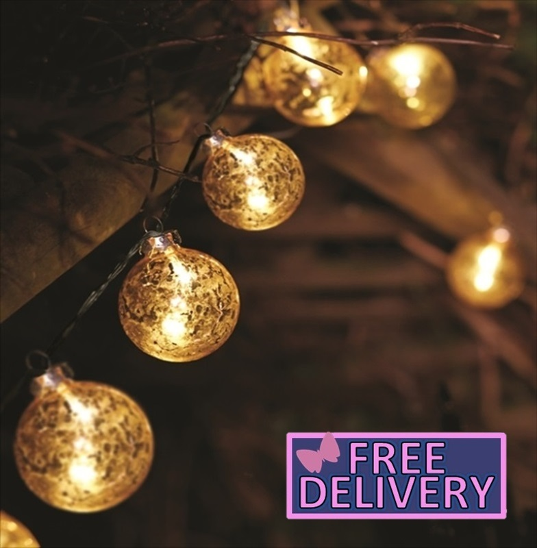 Gold stellar glass bauble string light the garden factory for Gold christmas tree lights