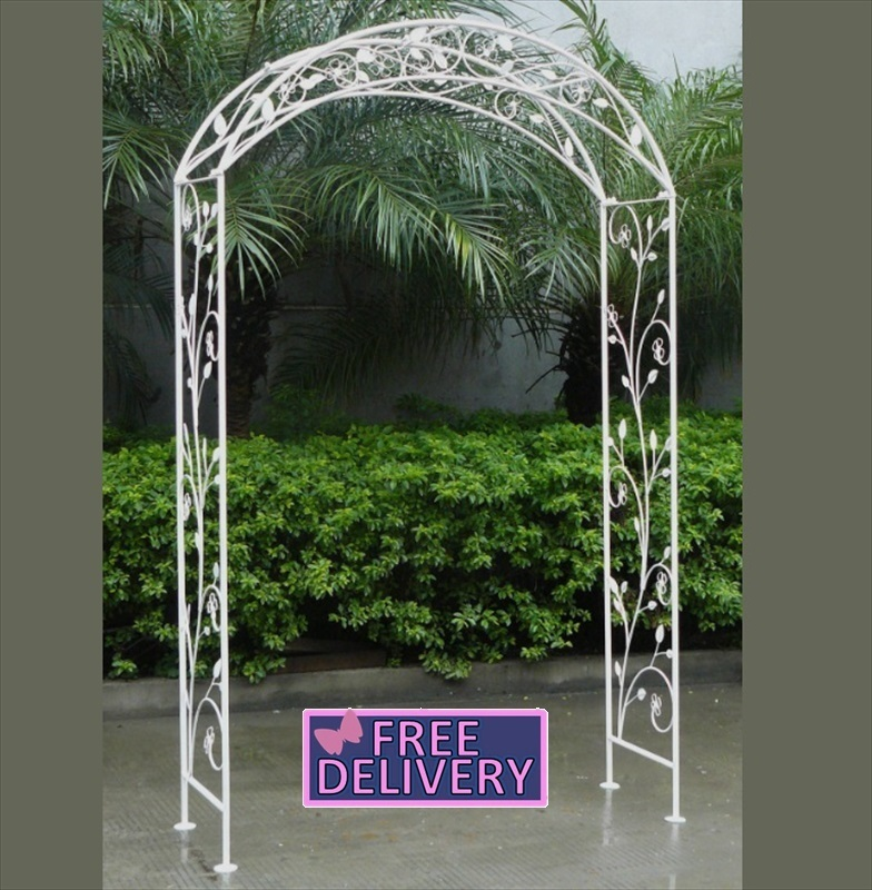 Ornamental Metal Round Top Garden Planter Arch: Wrought Iron Arch Shabby Chic White