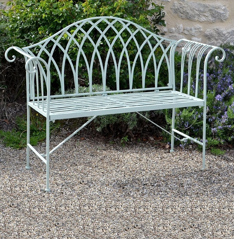 Fairford scrolled metal garden bench the garden factory for Outdoor furniture benches