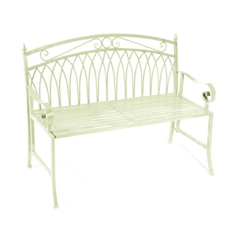 Exceptional Versailles 2 Seater Folding Metal Garden Bench   Cream