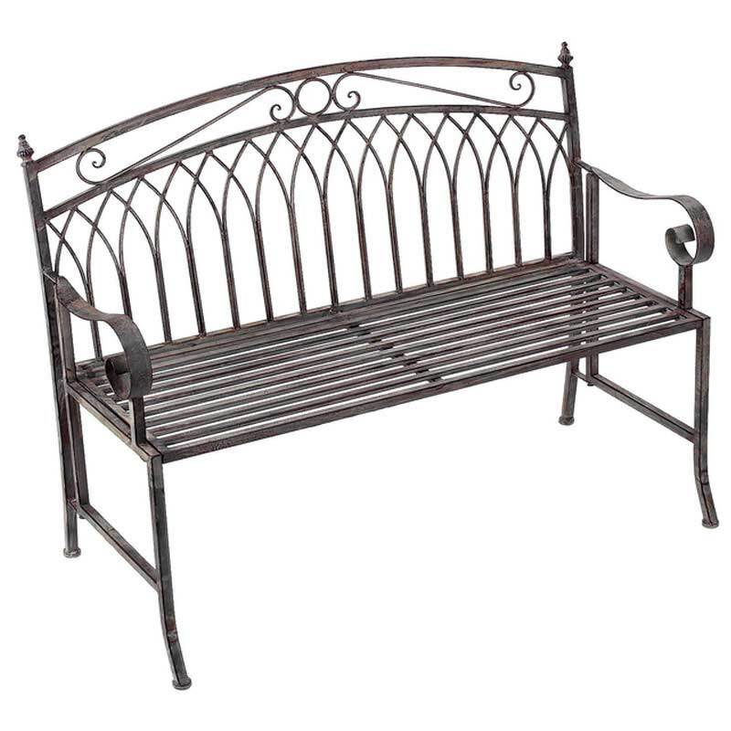 Versailles 2 Seater Folding Metal Garden Bench   Antique Bronze