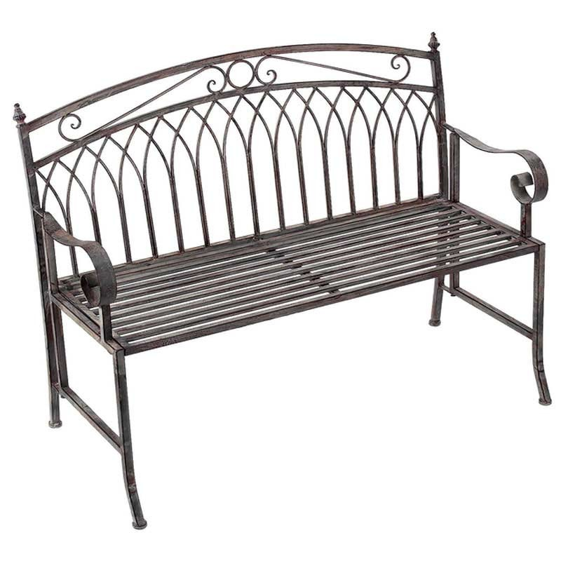 Versailles folding metal bench bronze the garden factory for Metal benches for outdoors