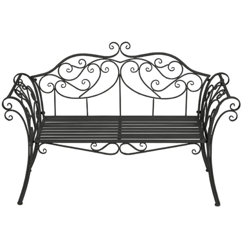 Ornate Scrolled Metal Bench Black The Garden Factory