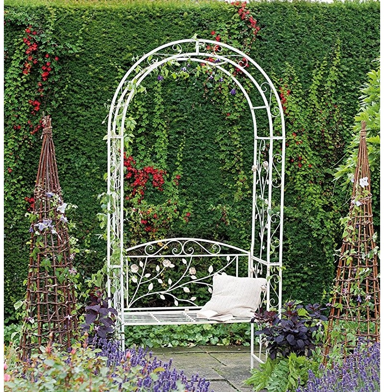 english metal garden rose arch arbour bench