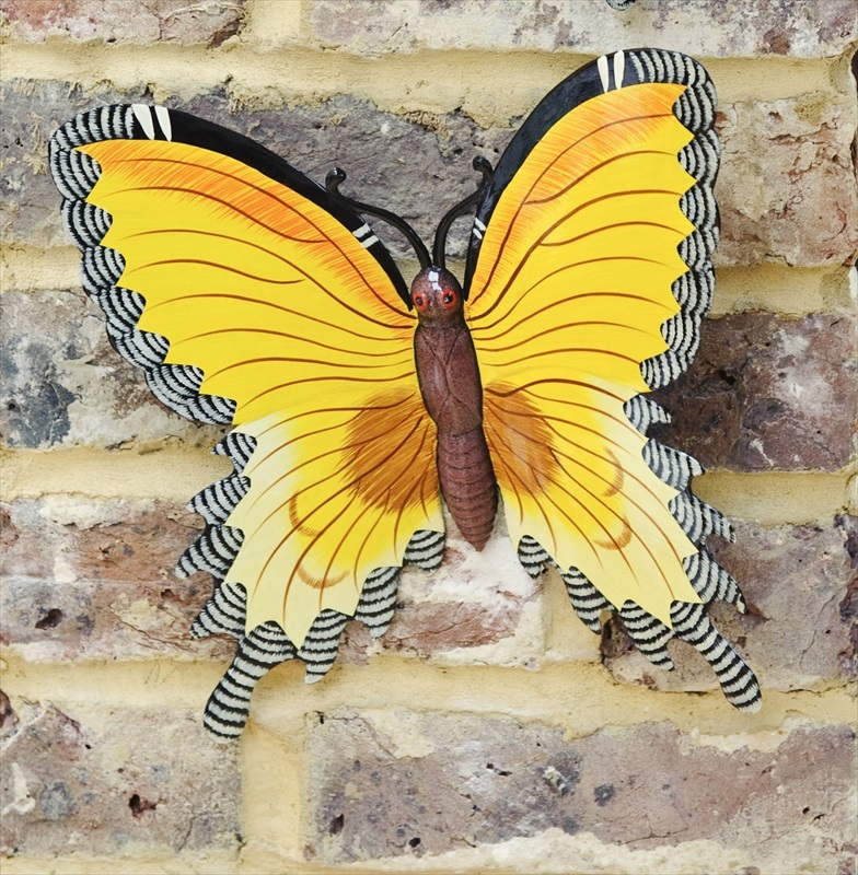 Yellow Wall Butterfly Garden Wall Art Large   Fountasia