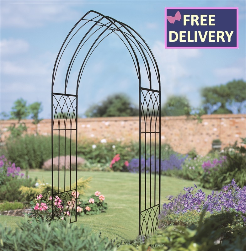 abbey gothic metal garden arch the garden factory. Black Bedroom Furniture Sets. Home Design Ideas