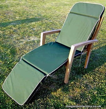 Garden Steamer Chair or Recliner Chair Cushion - Green