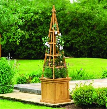 Solid Wood Obelisk Planter