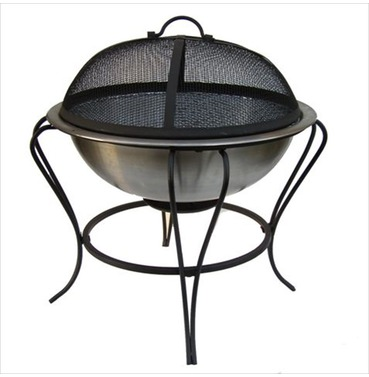 Small Stainless Firebowl BBQ with Protective Cover from La Hacienda