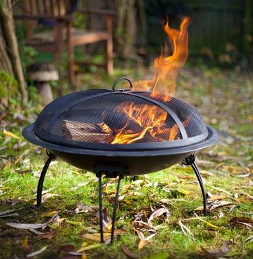 Steel Firebowl with Folding Legs & Mesh Safety Cover - La Hacienda