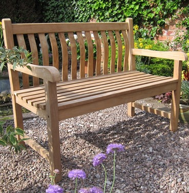 Teak Java Curved Back Garden Bench 120cm