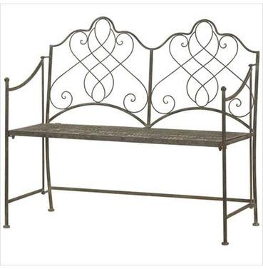 Antique Style Folding Metal Bench Garden Furniture