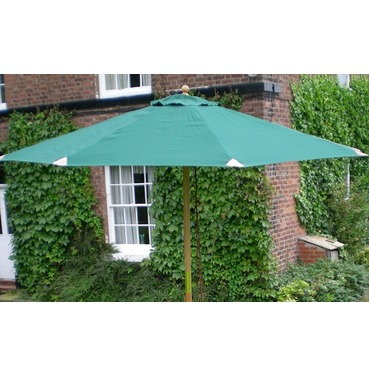 Deluxe Wooden 6 Rib Parasol 2.7m - Green