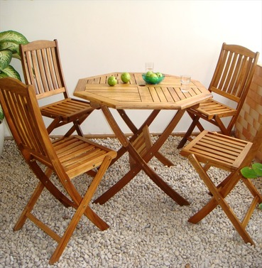 Hardwood Kent Folding Octagonal Garden Table & Chair Set