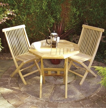 Octagonal Wooden Teak Bistro Garden Furniture Set