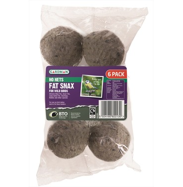 Fat Snax suet balls with no nets - 6 pack - by Gardman