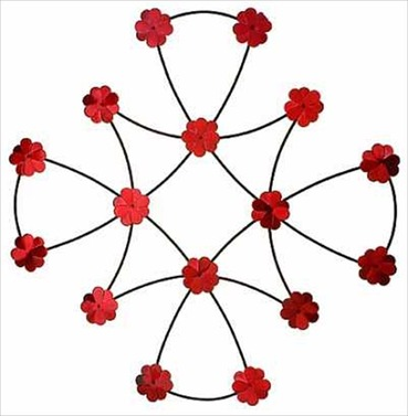 Garden Art - Red Celtic Bramble Wall Panel 60cm Dia D/L