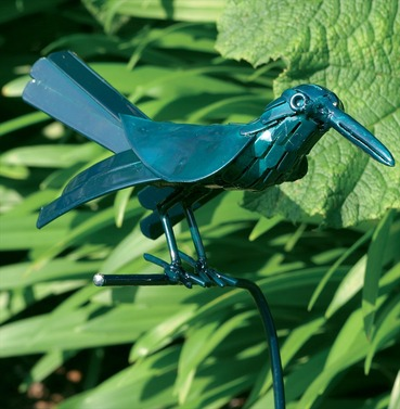 Garden Ornament - Green Nightingale On Stake - For Pots Or Borders