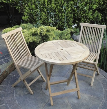 teak folding round bistro garden furniture set