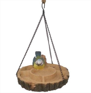 Hanging Multi Bird Feeder Dish Resin Garden Ornament - Blue Tit