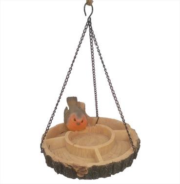 Hanging Multi Bird Feeder Dish Resin Garden Ornament - Robin