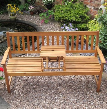 Kent Wooden Bench with Pop Up Table  - 3 Seater