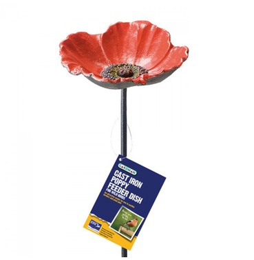 Cast Iron Poppy Bird Feeder Water Dish