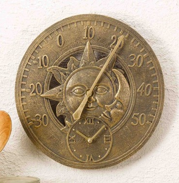 Sun and Moon Wall Thermometer & Clock 12""