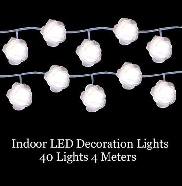 LED Decoration Christmas Rose Lights - 40 Lights 4m Indoor Warm White