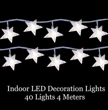 LED Decoration Christmas Star Lights - 40 Lights 4m Indoor Warm White