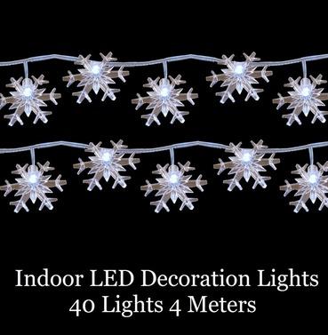 LED Decoration Christmas Snow Flake Lights - 40 Lights 4m Indoor Warm White